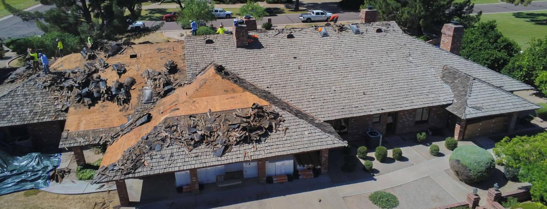 teardown of old shake roof