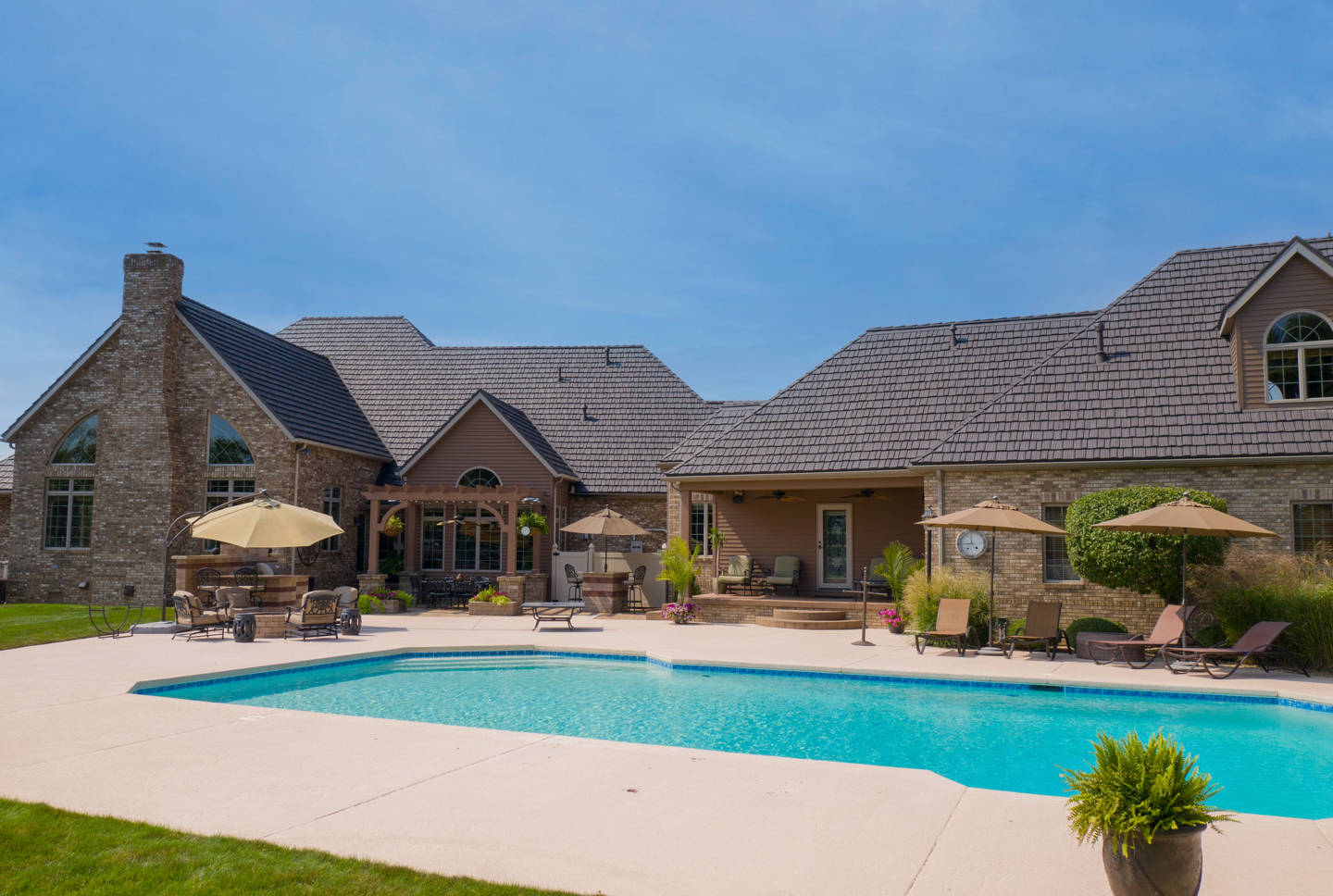 roof remodel with pool