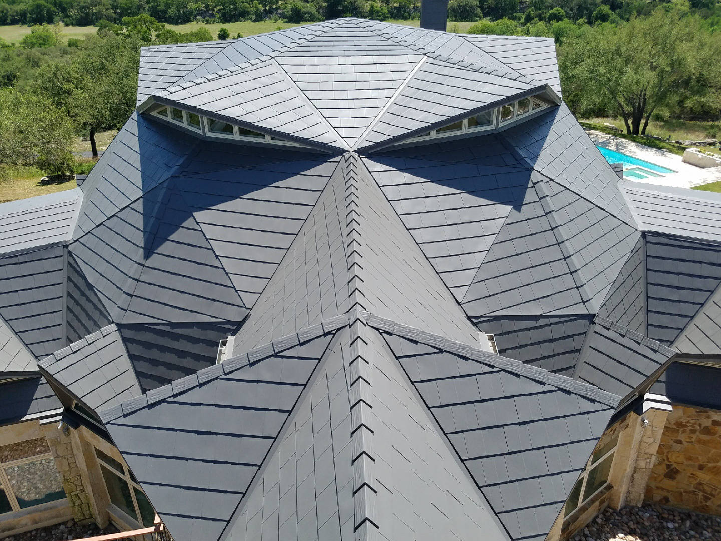 metal roofing on geodesic domes